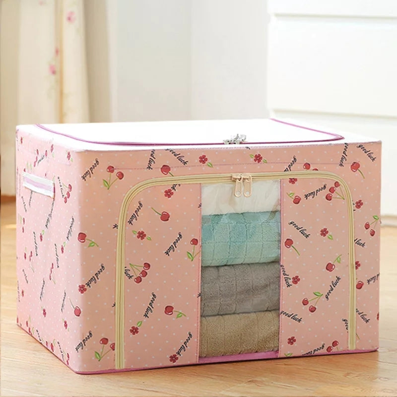 Wardrobe Storage Box With Visual Window for Quilt Down Jacket Clothing Organizer Foldable Closet Organizer Boxes
