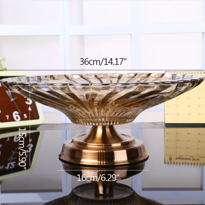 High-end Russian Style Glass Fruit Dish Dining Table Decoration