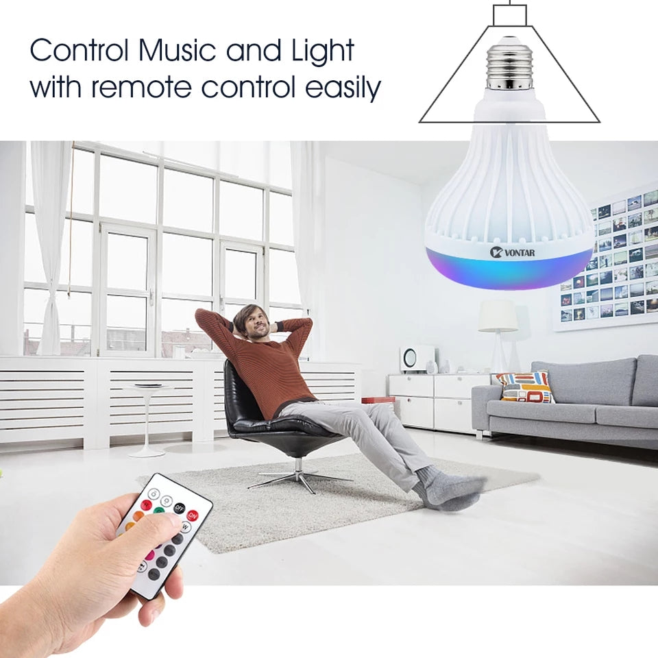 Wireless Bluetooth Speaker+12W RGB Bulb LED Lamp 110V 220V Smart Led Light Music Player Audio with Remote Control