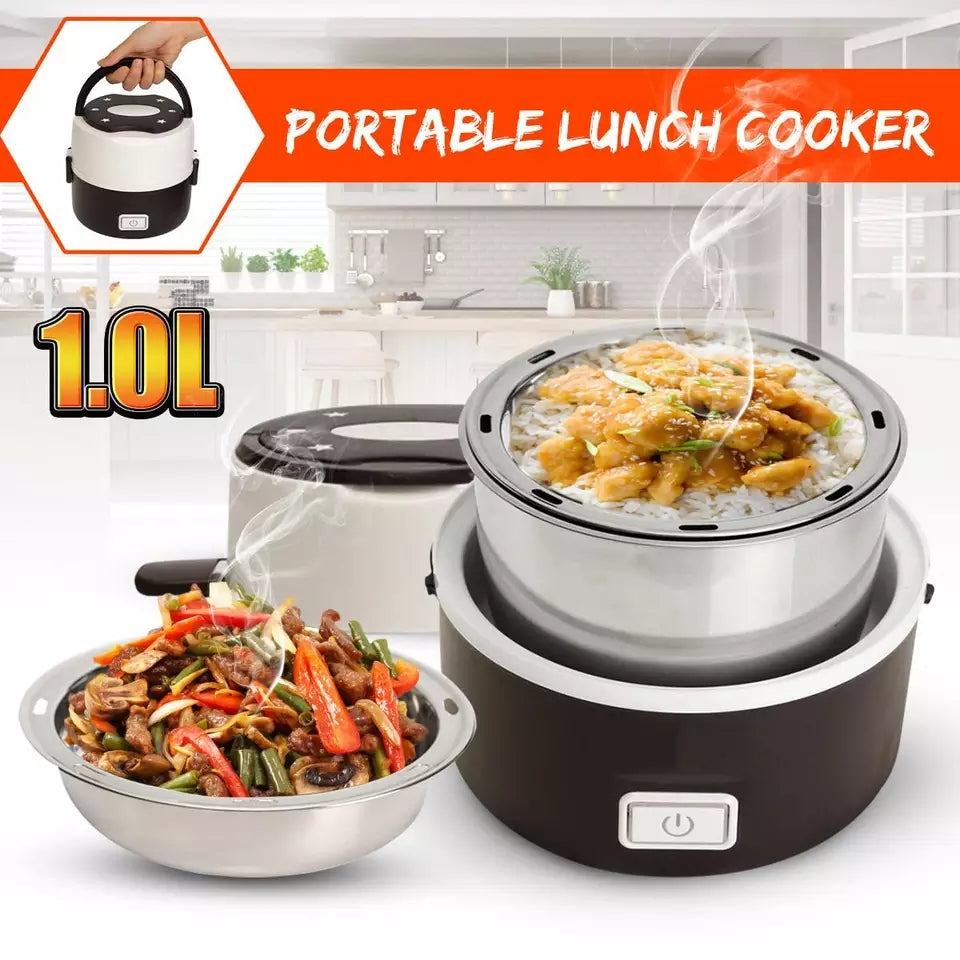 200W 1L Electric Rice Cooker Stainless Steel 2 Layers Steamer Portable  Meal Thermal Heating Lunch Box Food Container Warmer