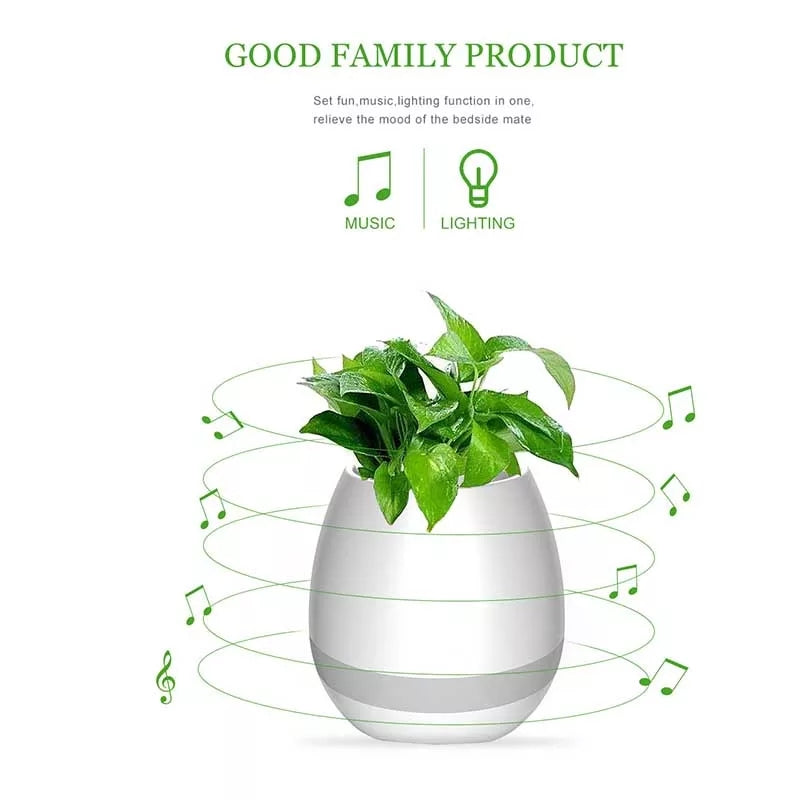 3 in 1 Wireless Bluetooth Speaker Music Flower Pot Night Light Waterproof USB Charigng