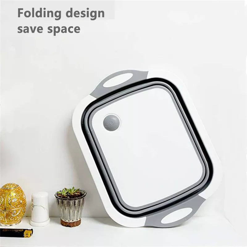 4 IN 1 Folding Cutting Board Basket Collapsible Dish Tub with Draining Plug Colander Fruits Vegetables Wash Drain Sink Storage