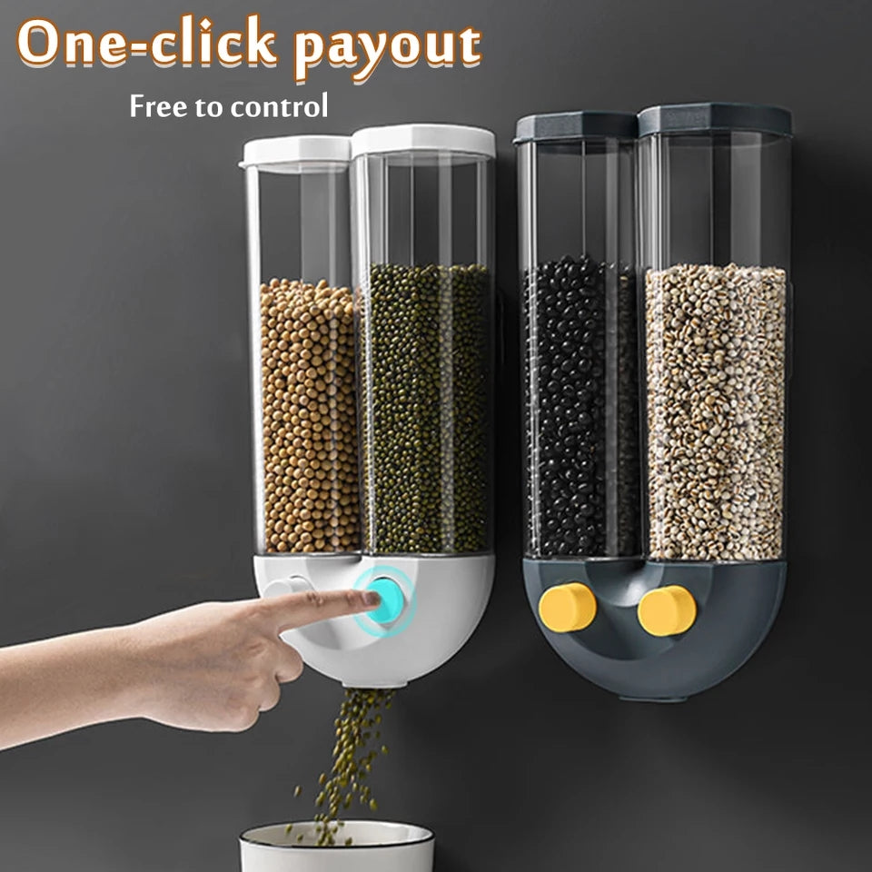 Wall Mounted Dry Rice Food Container Seperate Kitchen Storage Containers Box For Grain Rice Beans Automatic Dispenser Supplies