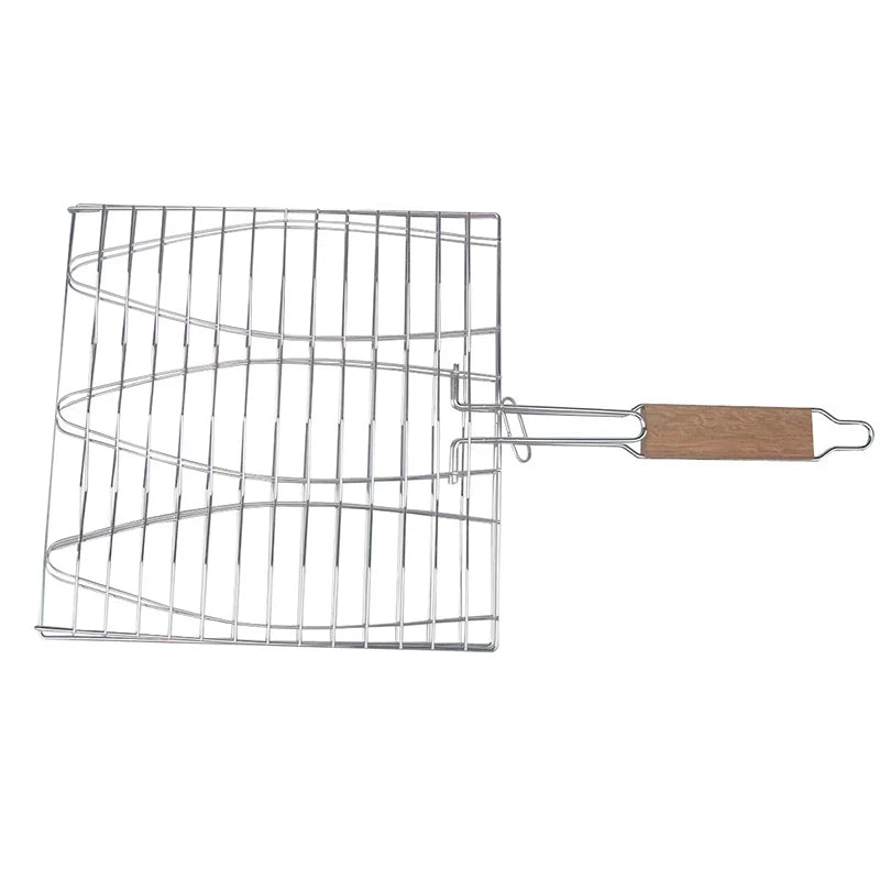 BBQ Accessories Fish Grill Net  Barbecue  Grilling Fish Rack Non-stick Triple Fish Grilling Basket  Wood Handle Barbecue Tool