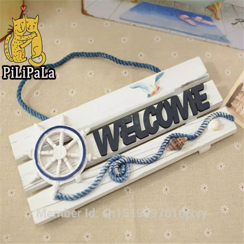 Mediterranean Style Wooden Doorplate House Decoration Business In Welcome Home Furnishing Welcome Listing Home Decor - ShopnHob