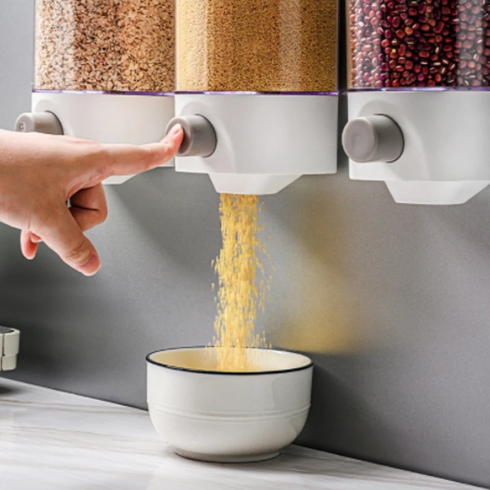 Whole Grains Food Storage Box Kitchen Wall-Mounted Push Press Storage Tank Plastic Container Storage Food Sealer Container Box