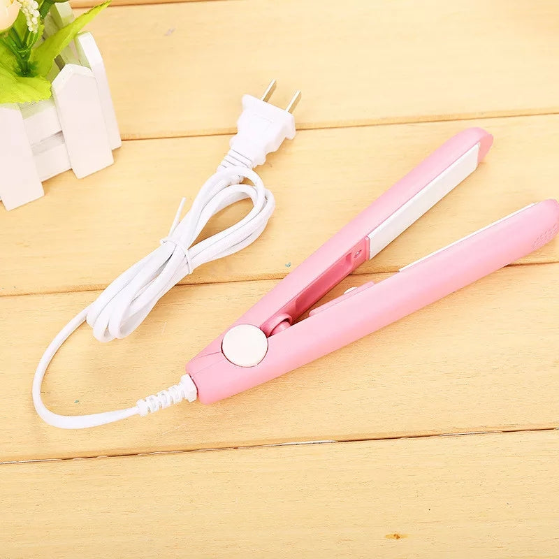 Mini Hair Straightening Iron Splint Dry & Wet Alloy Heating Board Fringe Curling Straightener DIY Electric Hair Styling Tools