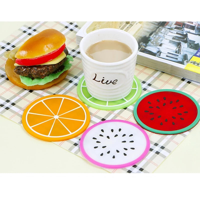 6PCS Silicone cup mat Fruit drink Coffee Mike coaster