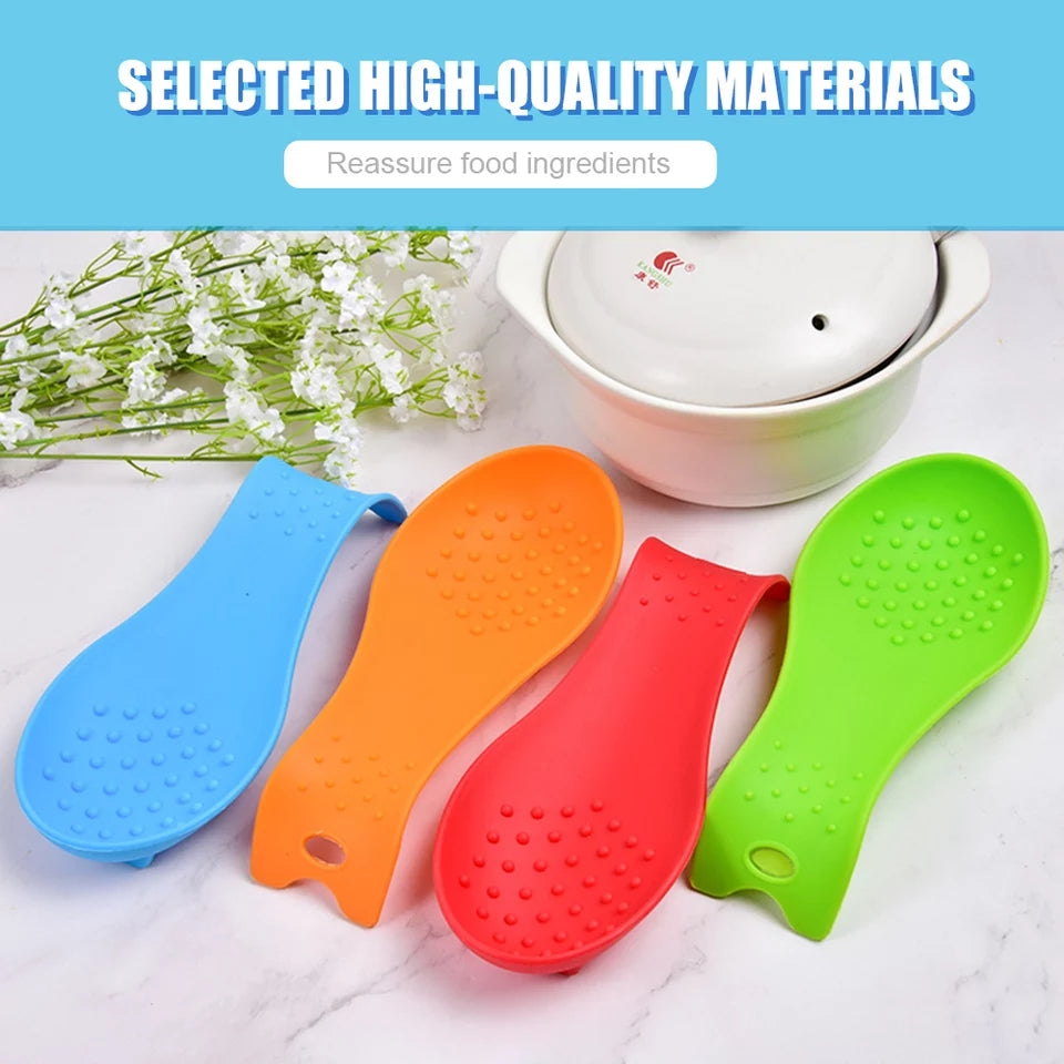 Kitchenware Soup Spoon Pad Silicone Spoon Holder Home Spatula Holder Spoon Rest Place Mat Multipurpose Silicone Spoon Put Pad