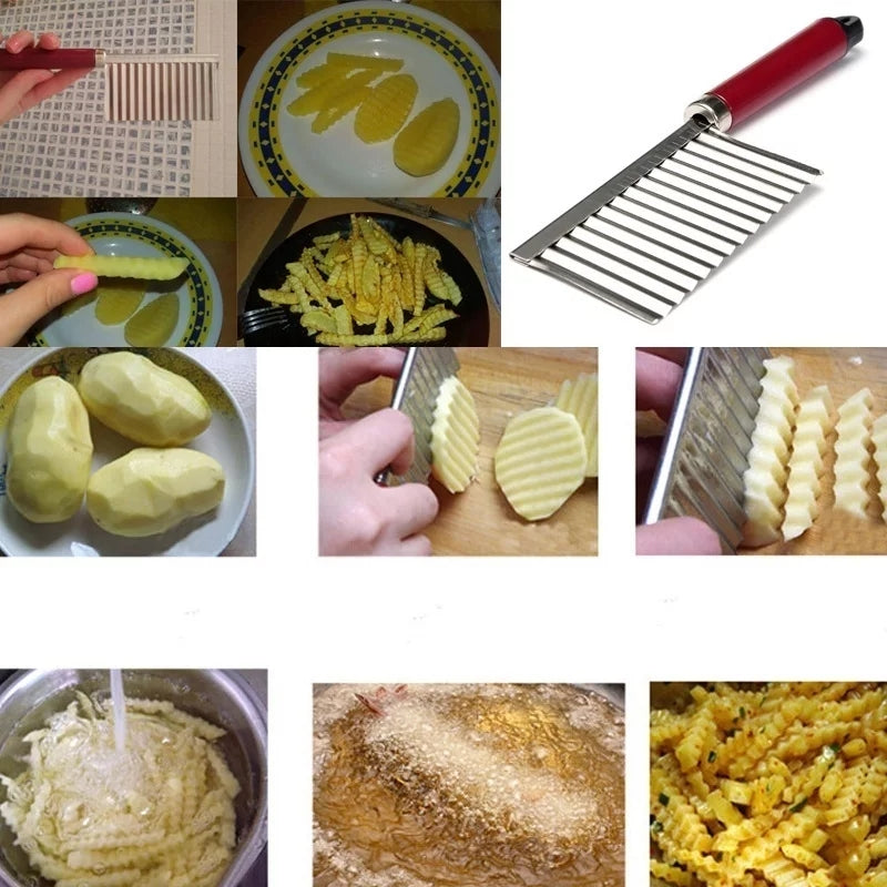 New Potato Chip Dough Vegetable Crinkle Wavy Cutter Slicer Fruits Food Cutterly Tools