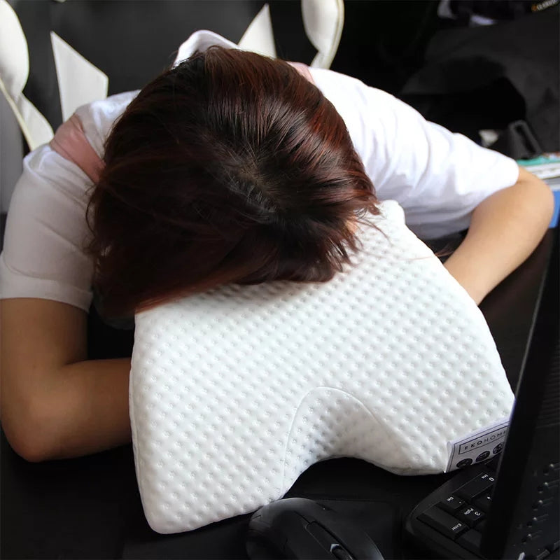 Curved Slow Rebound Memory Foam Pillow Anti Pressure Hand Numb & Neck Protection & Dead Arms Couple Pillow Office Napping