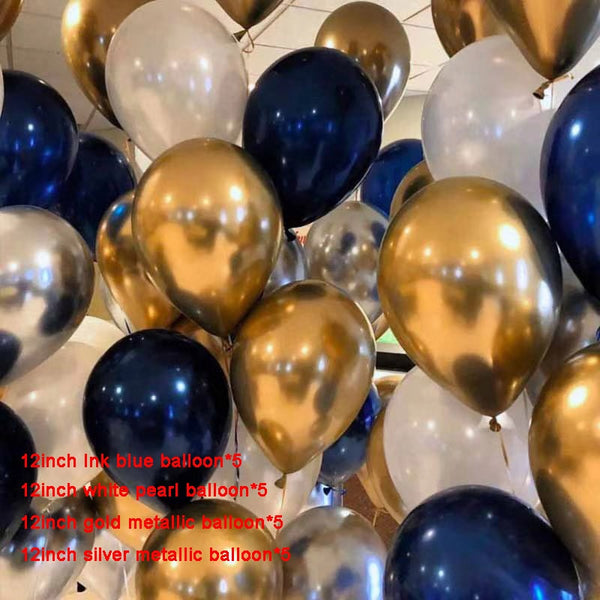 25pcs 12inch Latex Metal Gold, Black & White Balloons