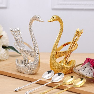 Creative Swan Fruit Spoon Fork Holder Cygnus Base Stainless Steel Salad Dessert Cake Forks Coffee