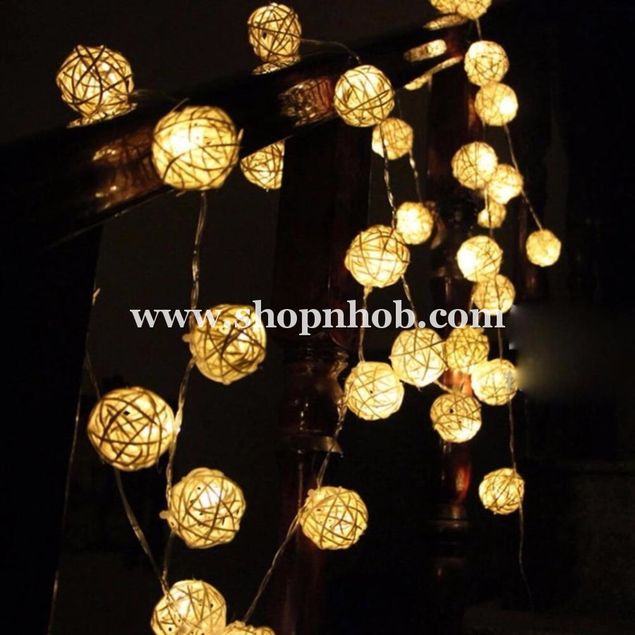 20 Led Creative Ratten Led Balls String Lights - ShopnHob (3596843647056)