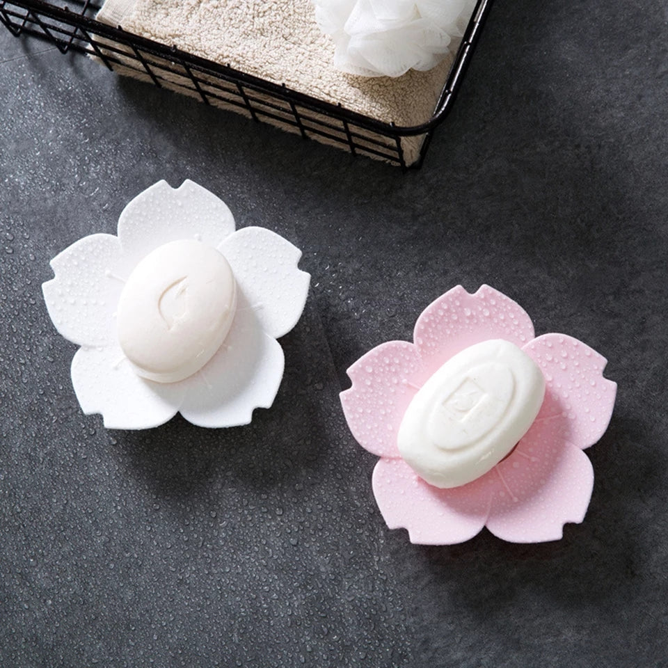 Soap Dish Soap Box Plate Flower Cherry Blossom Soap Plastic Box Holder Bathroom Gadgets