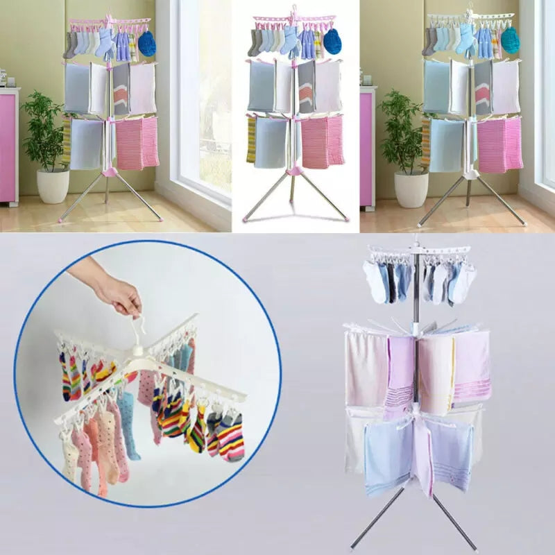 Multifunctional floor folding towel drying rack Transportable Laundry Stand Drying Rack 2 Tier Tripod Clothes Hanger