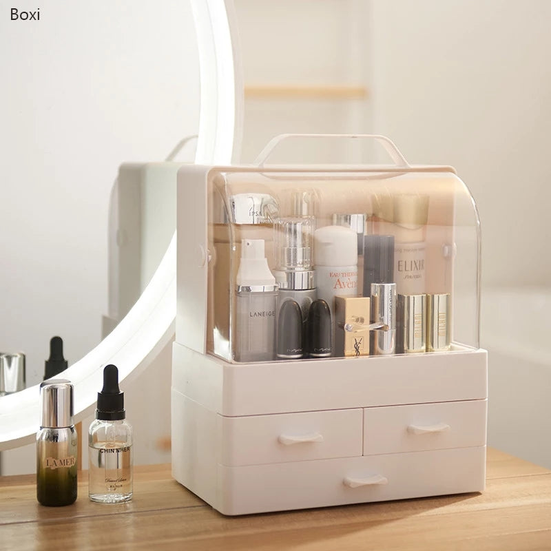 Multi-layer Drawer Makeup Organizer Transparent Plastic Cosmetic Storage Box Desktop Dust-proof Jewelry Nail Polish Boxes