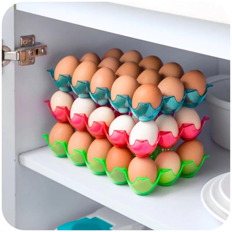 15 Grids Eggs Container Holder Egg Organizer Storage Box Case Food Thickening can be Superimposed Refrigerator Fresh Kitchen