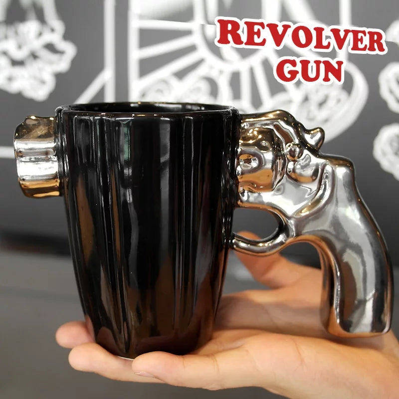 1Pc Ceramics Cup Revolver cup Mug pistol shaped Funny Ceramic Cup Cool Coffee mug To Send Boys Friends Birthday Gifts CL04014