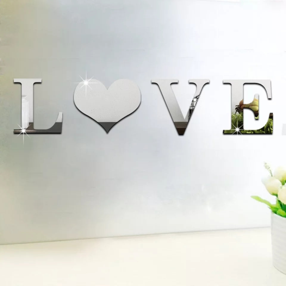 Fashion 1PC Popular 26 Letters 3D Acrylic Mirror Surface Wall Stickers Modern Home Decor Fumiture Stickers - ShopnHob
