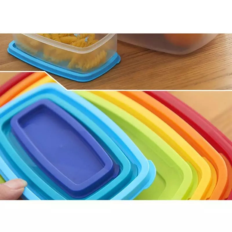 7 PCS/Set Refrigerator Crisper Transparent Sealed Plastic Rectangular Rainbow Colored Crisper Storage Boxes Food Container - ShopnHob