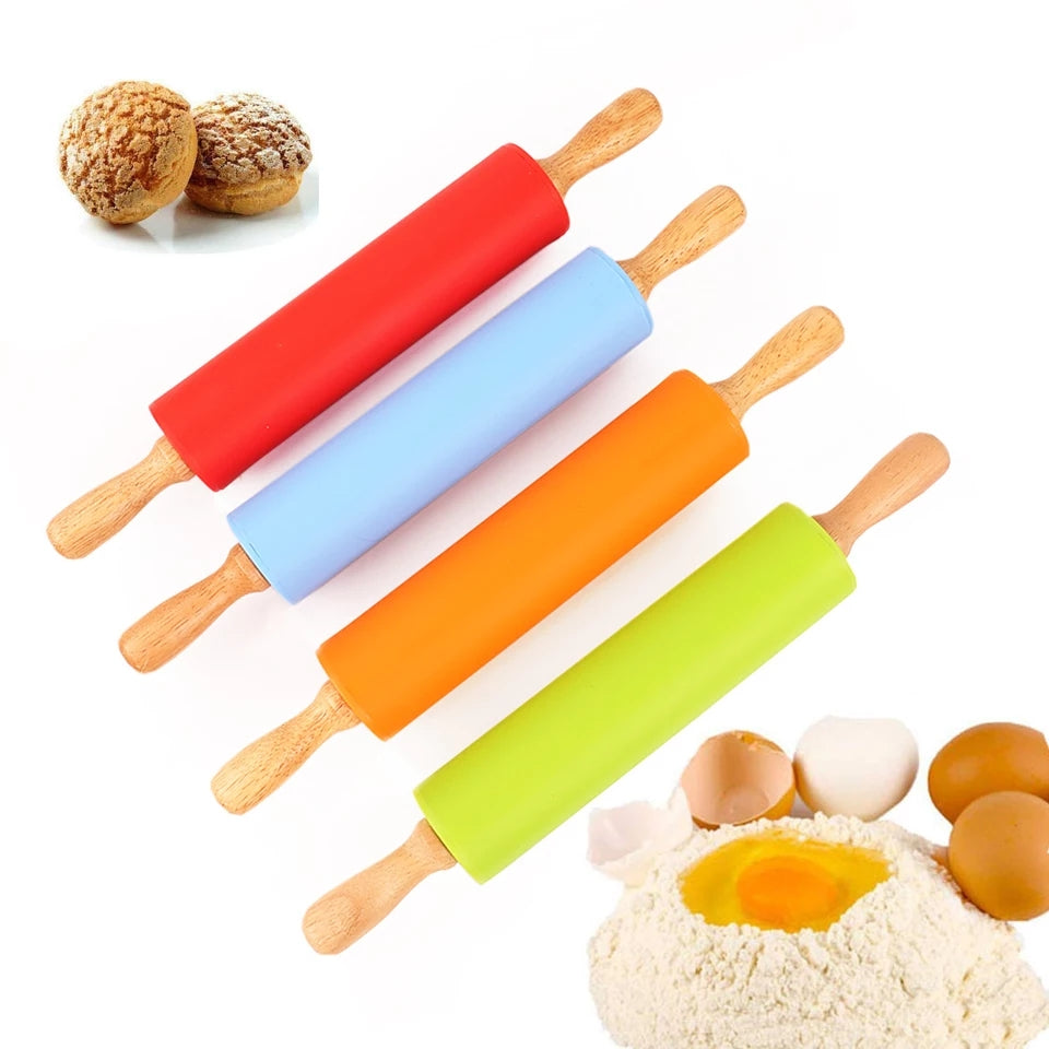 Non-Stick Wooden Handle Silicone Rolling Pin Pastry Dough Flour Roller