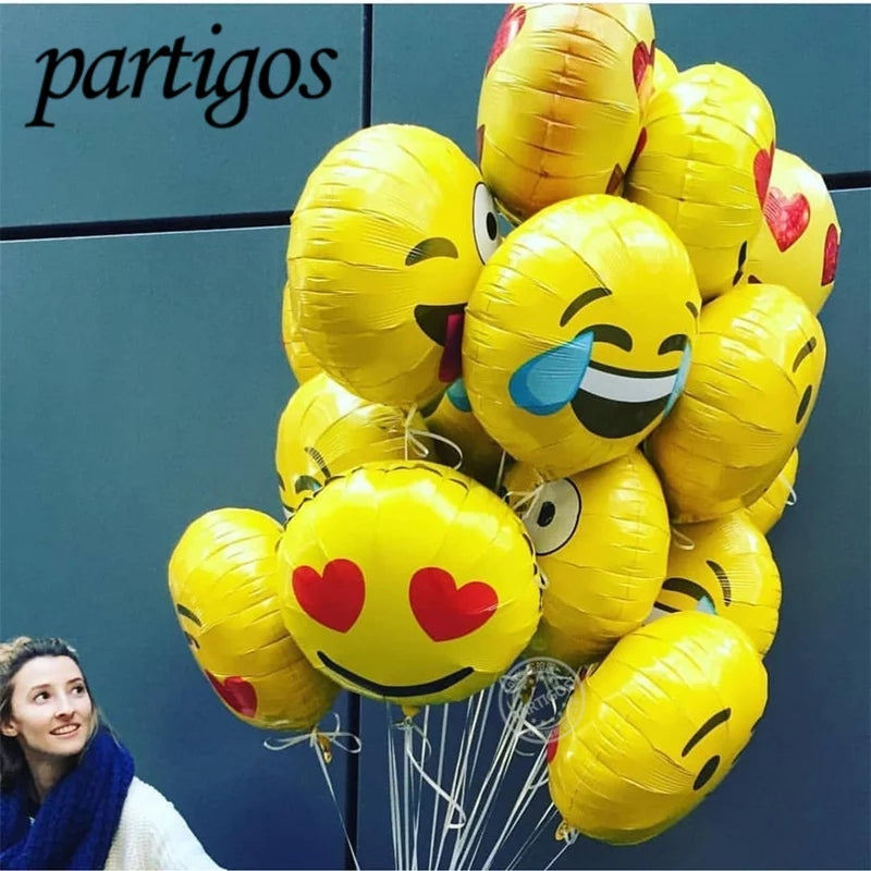 Pack of 12 Emoji Foil Balloons with stick 18 inches size cool love kiss naughty expression - ShopnHob (3559144685648)
