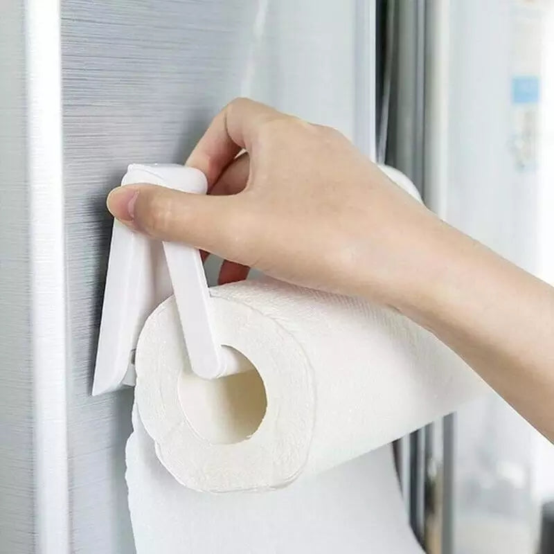 2pcs Paper Towel Holder Oven Tissue Holder Kitchen Bathrooms Plastic 9*4.5cm White Adjustable Easy Installation Removal Separate Paper Towel Tissue Roll Holder