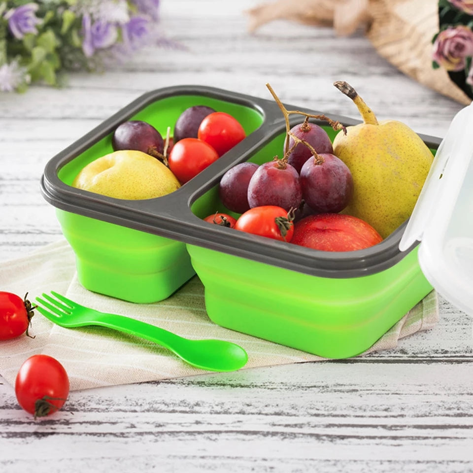 2 Cells Silicone Collapsible Portable Lunch Box Microwave Oven Bowl Folding Food Storage Container Lunchbox 650ML+450ML - ShopnHob