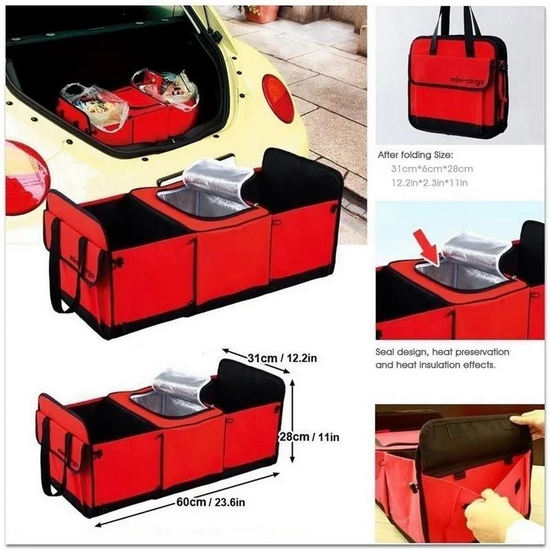 Road Trip Car Food Storage Bag Organiser Handy Folding Trunk Organizer Outing Storage Bags car-styling Portable back seat Cooler Set Basket