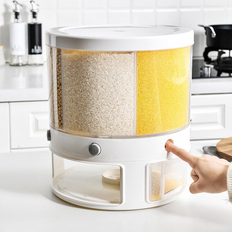 Rotary Sorting Round Cereal Container Storage Box Rotary Rice Bucket Household Kitchen Storage