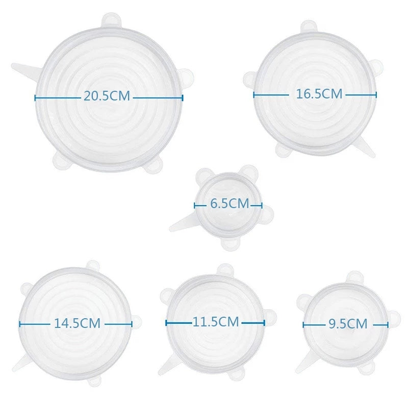 Universal Food Silicone Cover Lids 6 Pack Flexible Silicone Bowl Covers for Bowl Jar - ShopnHob