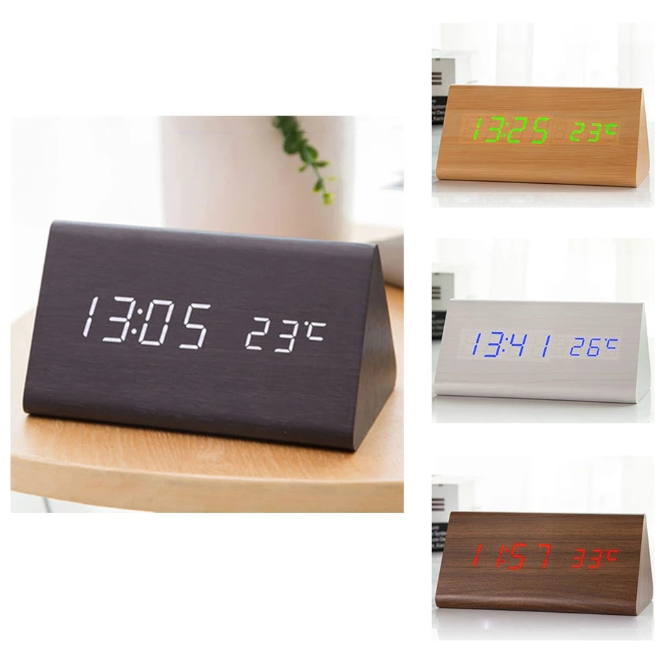 Wooden Alarm Clock Desktop Digital Clocks Sound Control Snooze Wood LED Clock - ShopnHob