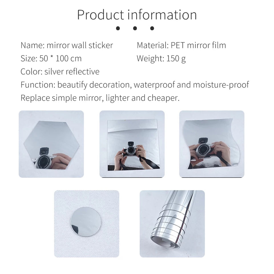 50X100cm Waterproof Self Adhesive Stickers Film Mirror Silver Insulation Stickers UV Rejection Privacy Films Home Decoration