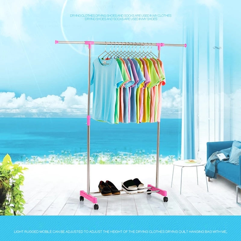 Adjustable Rolling Clothes Hanger Coat Rack Floor Hanger Storage Wardrobe Clothing Drying Racks With Shoe Rack