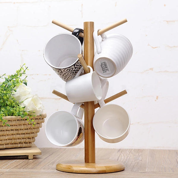 Wood Cup Rack Six Brackets Hanger Stand Mug Coffee Cup Storage Stand Office Kitchen Home Organization Drinkware Tools