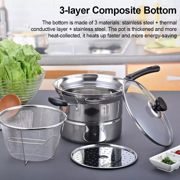 Stainless Steel Pasta Pot Cooking Noodle Pot Multi-purpose Soup Pan Steamer Fryer Pasta Home Induction Cooker