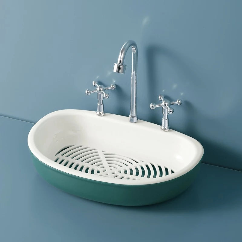 Faucet Shape Double Layer Soap Box Portable Eco-friendly ABS Draining Soap Dish Bathroom Products