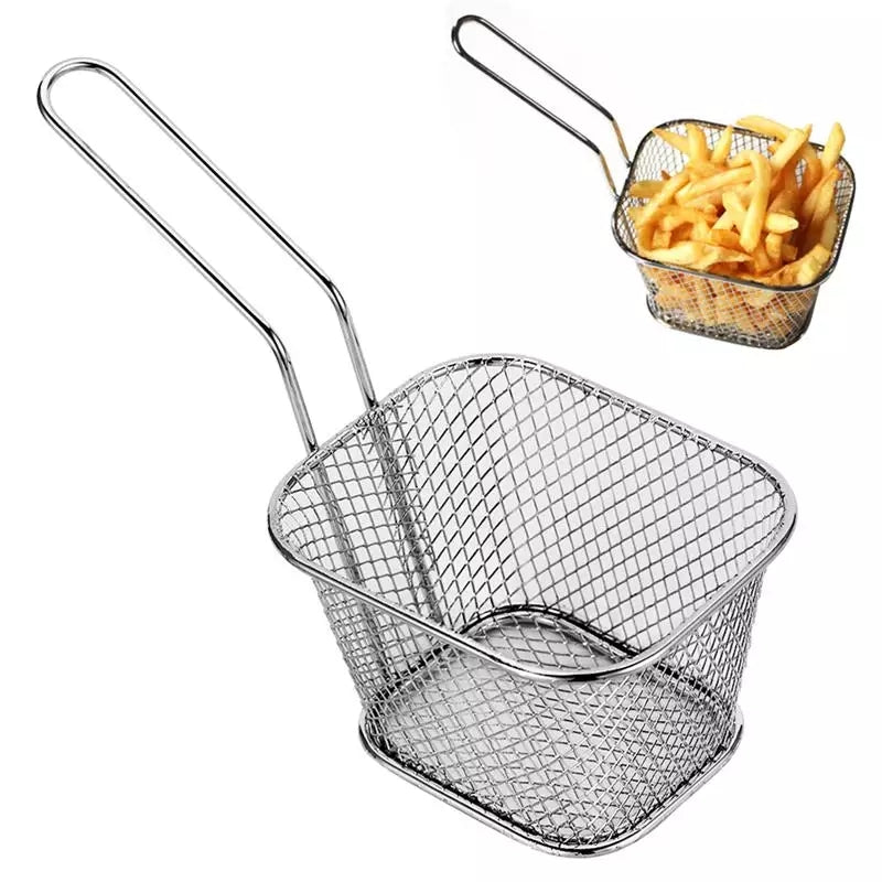 Fry Baskets Stainless Steel Mini Fryer Basket Strainer Serving Food Presentation Cooking French Fries Basket Kitchen Tool