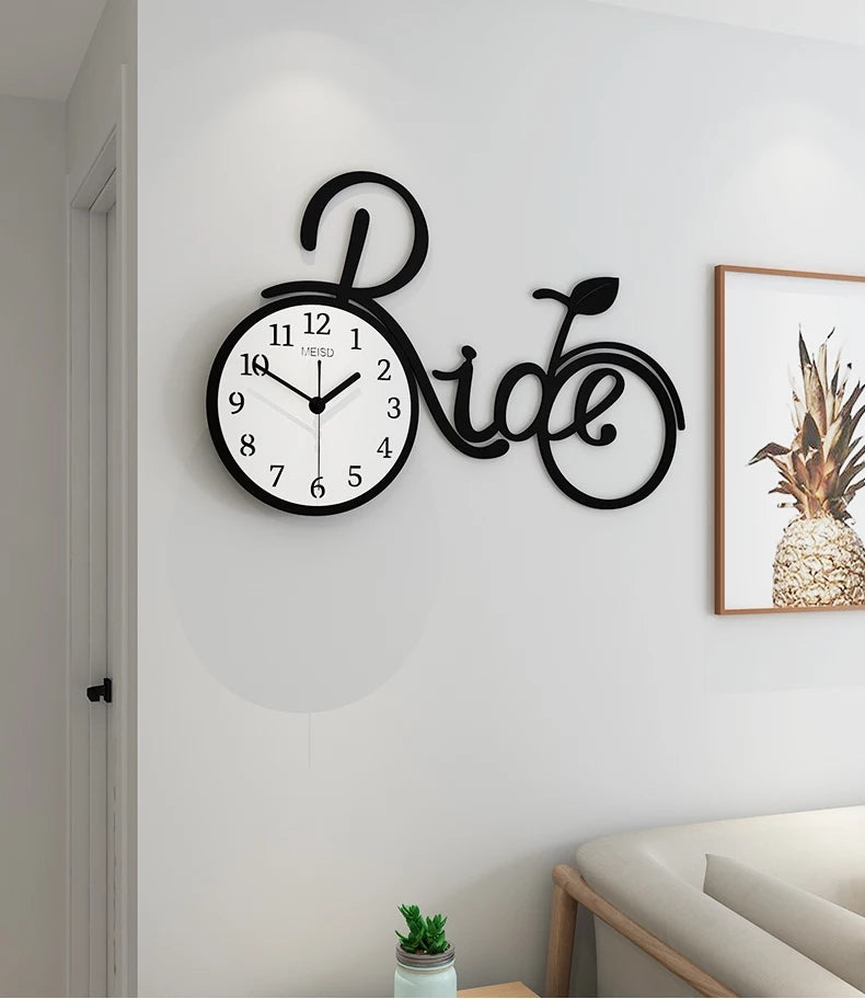 Retro Bicycle Wall Clock Bedroom Modern Design large kitchen Wall Clocks