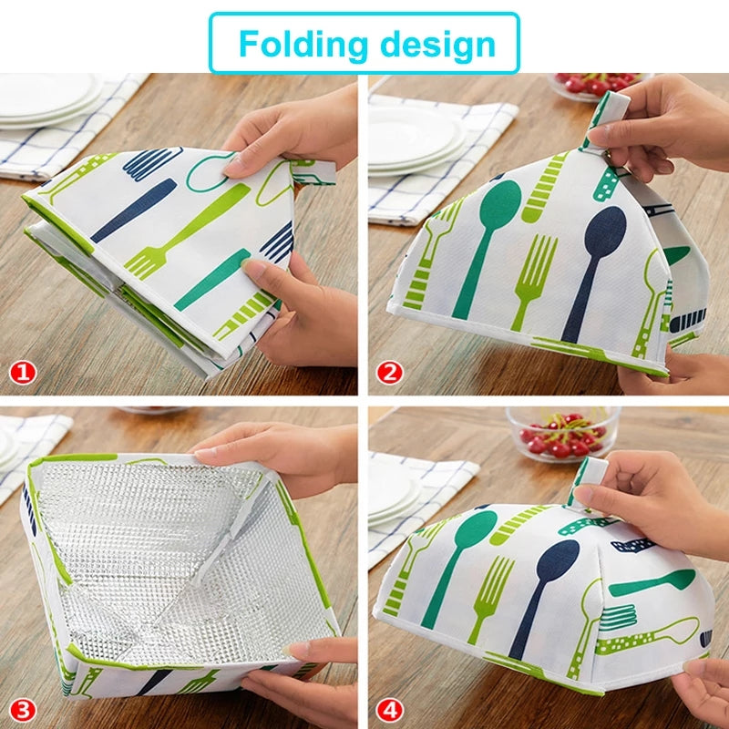 2 Pcs Foldable Insulated Food Covers Keep Warm Aluminum Foil Dishes Cover Insulation  Kitchen Table Accessories Tools