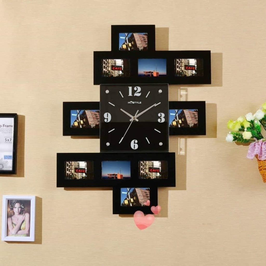 Tweid Wooden 10 Photo Frame Wall Clock - ShopnHob (3547115356240)