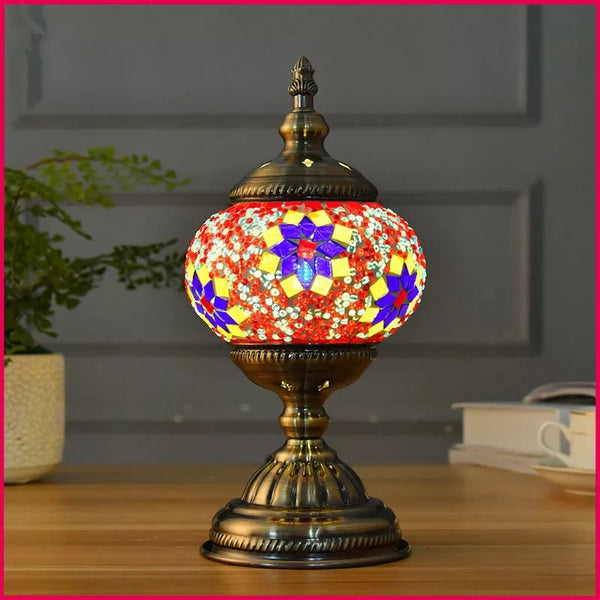 Pair of Turkish Mosaic Antique Metallic Lamps