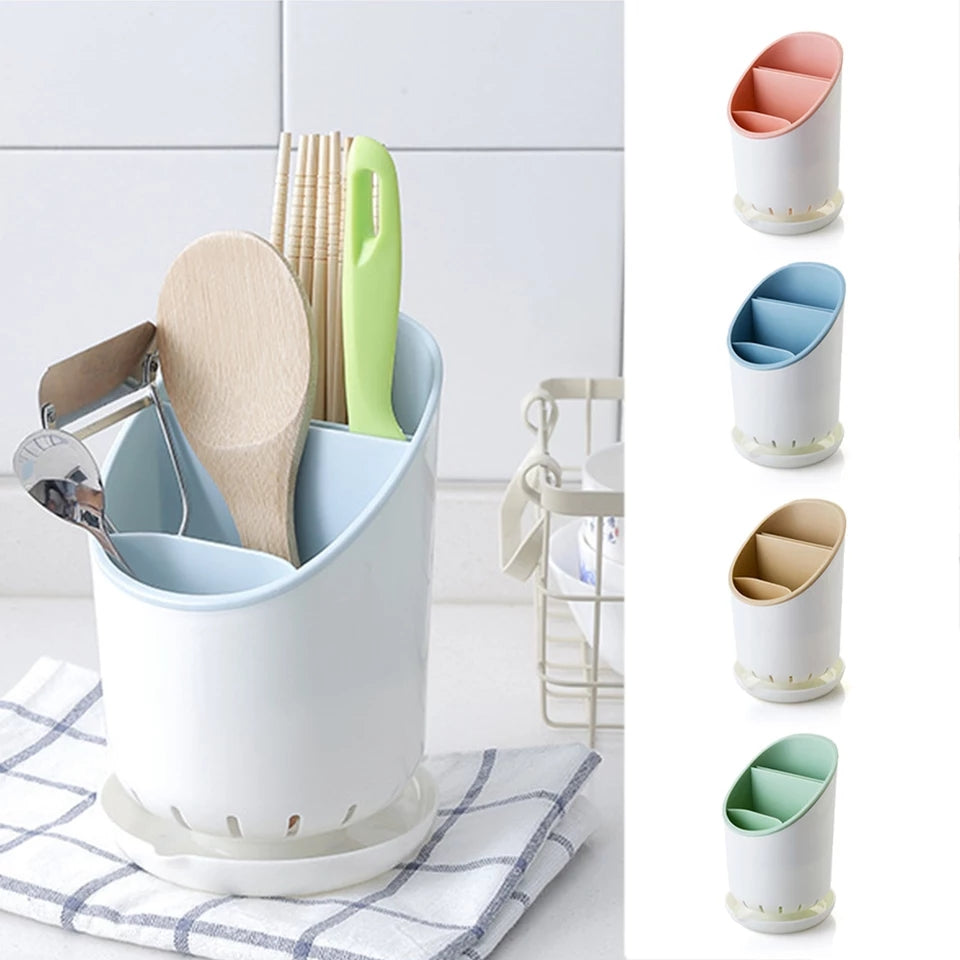 Cutlery Holder Drainer Rack Plastic Chopsticks Sponge Sink Tidy Strainer Storage Kitchen Storage Box Spoon Fork Shelf Organizer