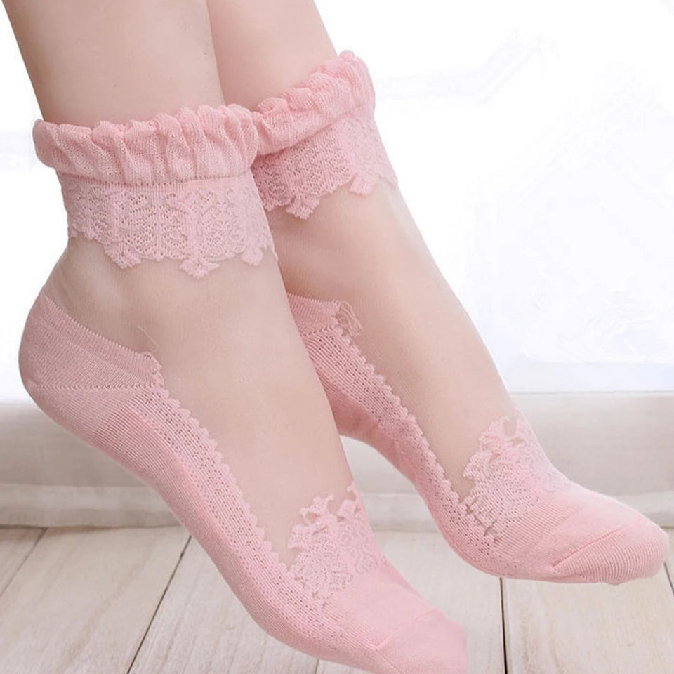 Colorful Ultrathin Transparent Beautiful Crystal Lace Elastic Short Women Socks