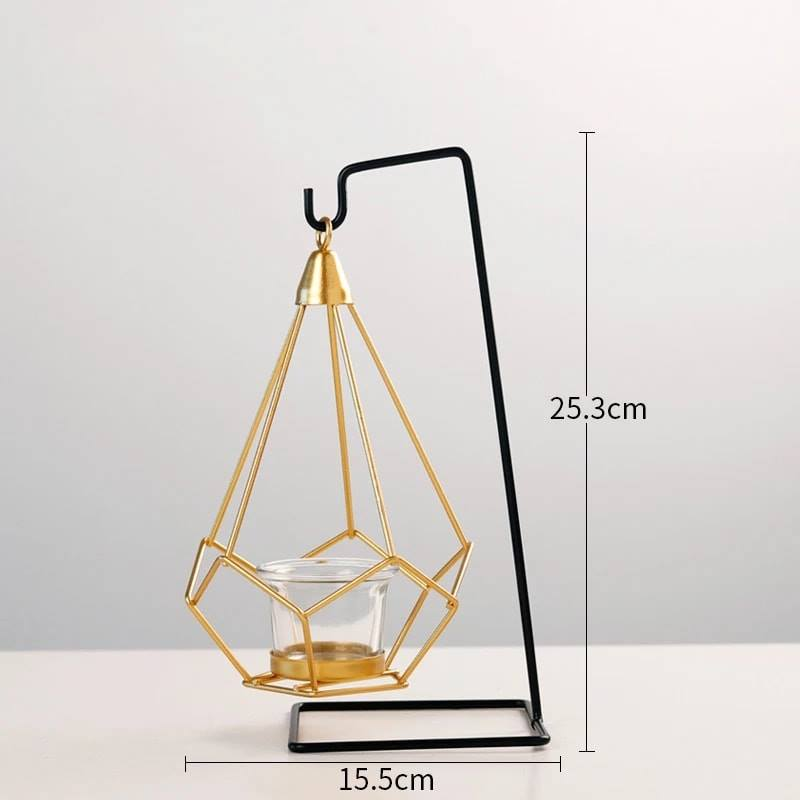 Nordic style Geometric Design Gold Glass Iron Candle Holder - ShopnHob (3547045625936)