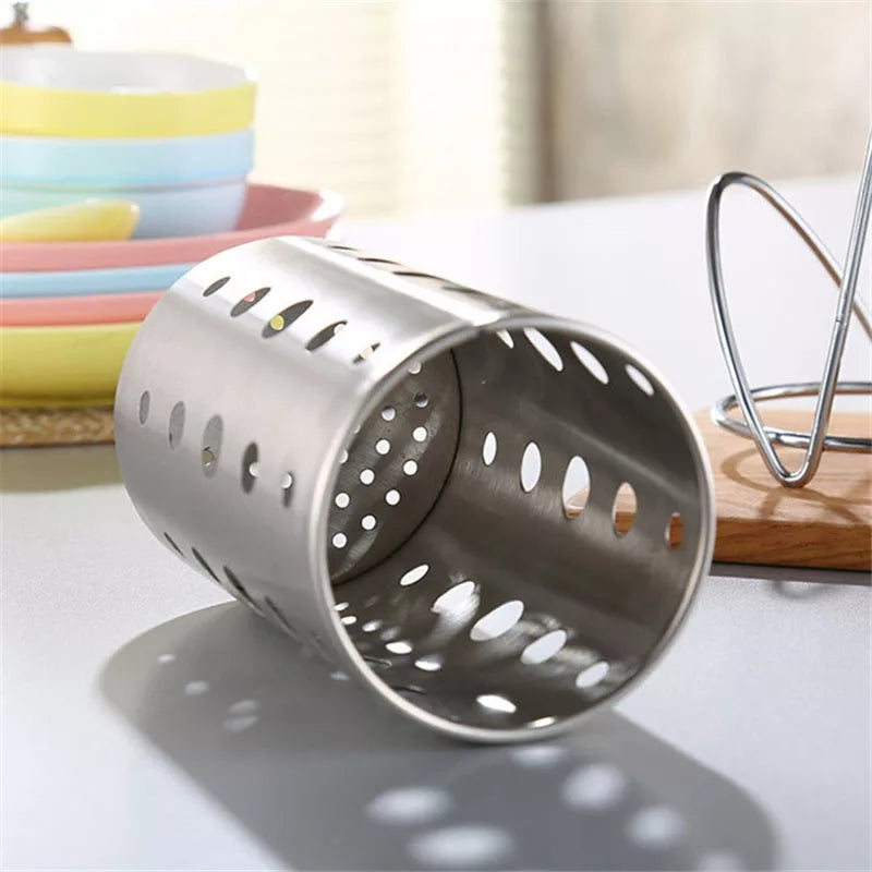 Stainless Steel Chopsticks Cage Storage Box Set Drain Rack Spoon Fork Organizer Bucket Kitchen Supplies TB Sale - ShopnHob