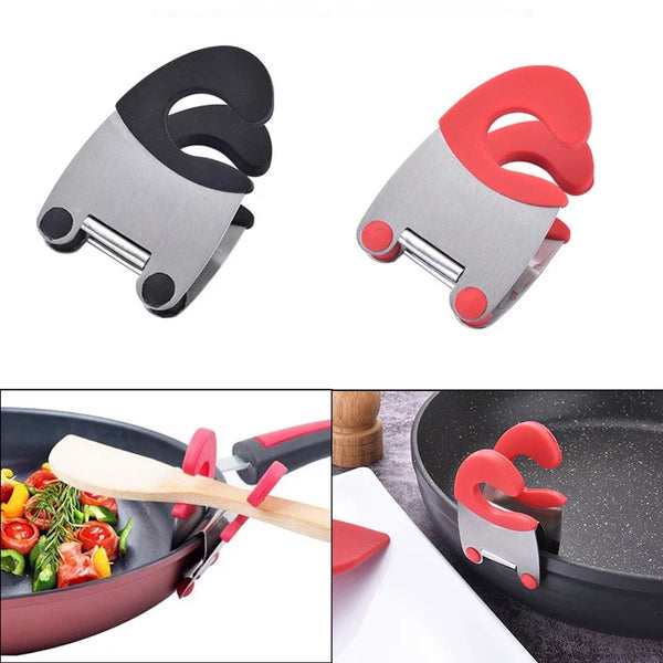 Stainless Steel Pot Pan Holder Spatula Clip Spoon Rest Pots Clip Kitchen Tools For Pan Lid Repose  Pot Lid Holder