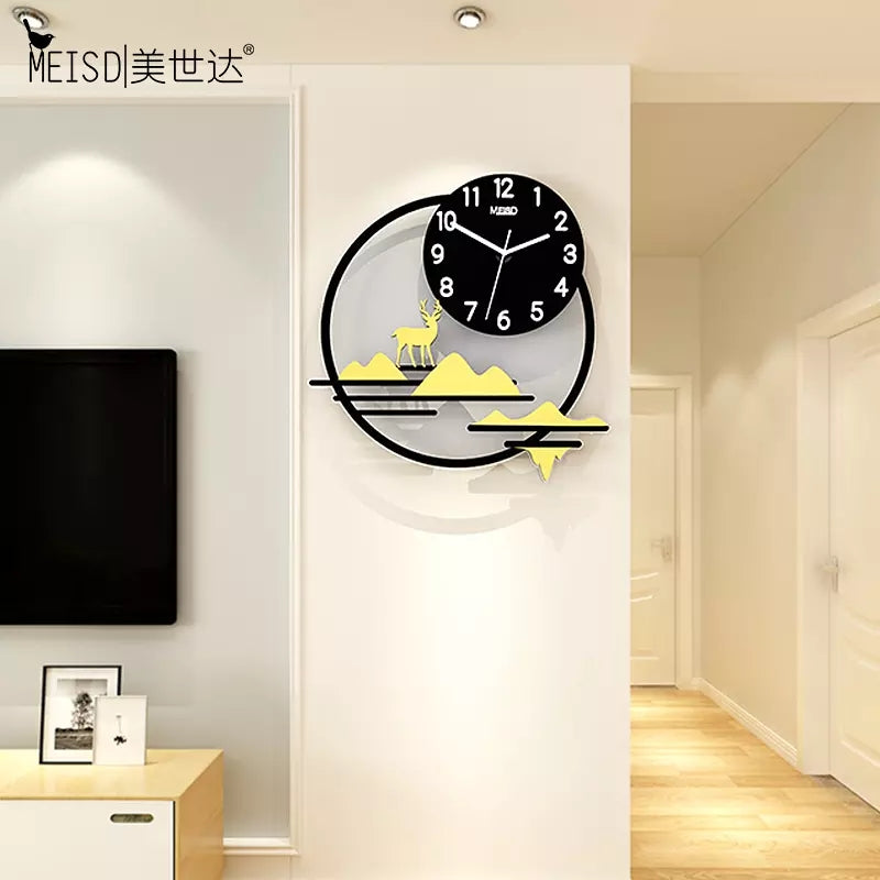 Hill Deer Wall Clock Modern Design Silent Wall Clock Quartz Hanging Living Room Clocks Wall Watches Home Decor