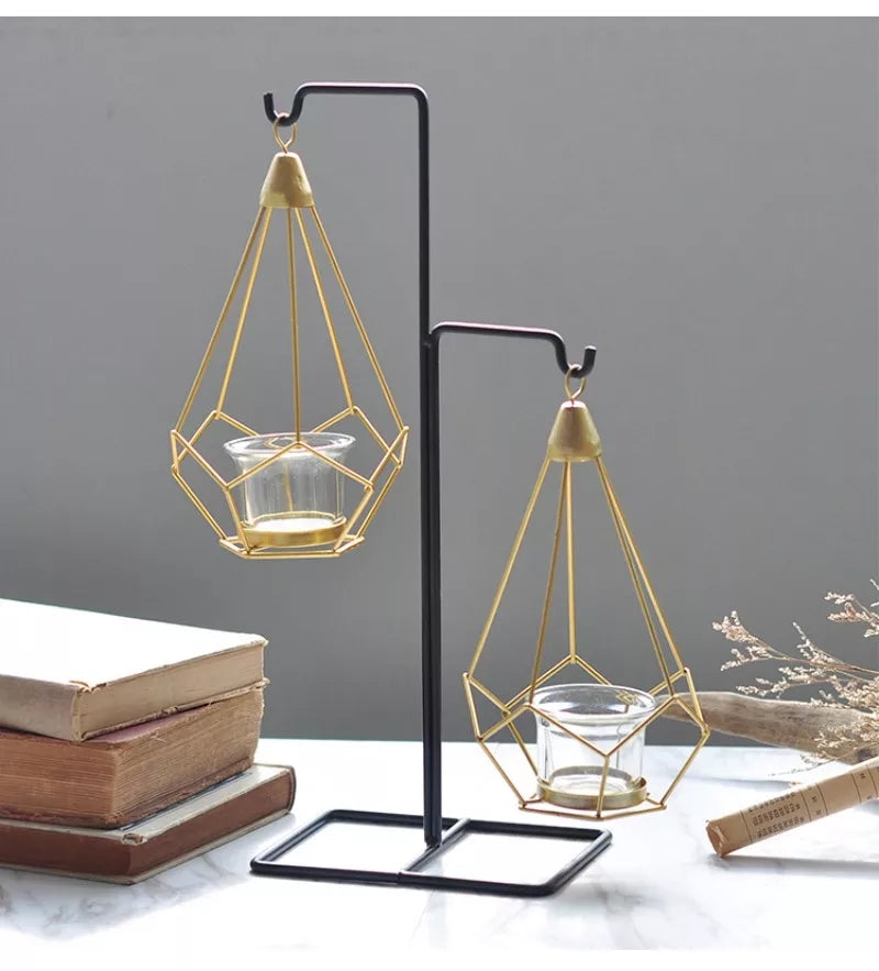 Nordic style Geometric Design Gold Glass Iron Candle Holder (3547045625936)
